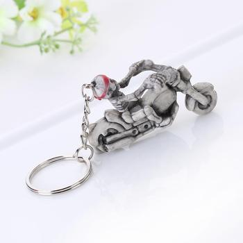 Fashion Top - End Skull Riding Motorcycle Keychains Accessories Rubber Skull Key Chains Bag Car Decoration Pendant Key Rings image