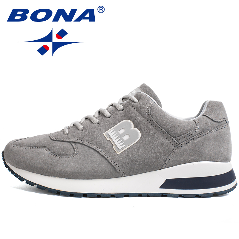 BONA Footwear Suede Sneakers Casual-Shoes Outdoor New-Style Men Male Man Anti-Skid Zapatillas-De-Deporte