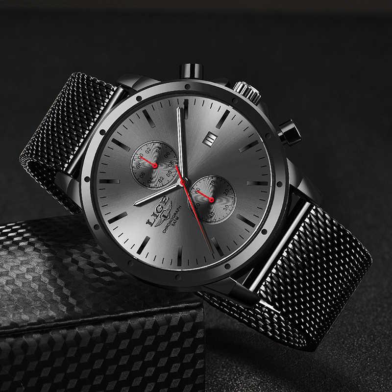 Herren Uhren Top Luxus Marke LIGE Business Watch Männer Chronograph Voller Stahl Wasserdicht Analog Quarz Armbanduhr Männlichen Uhr + Box