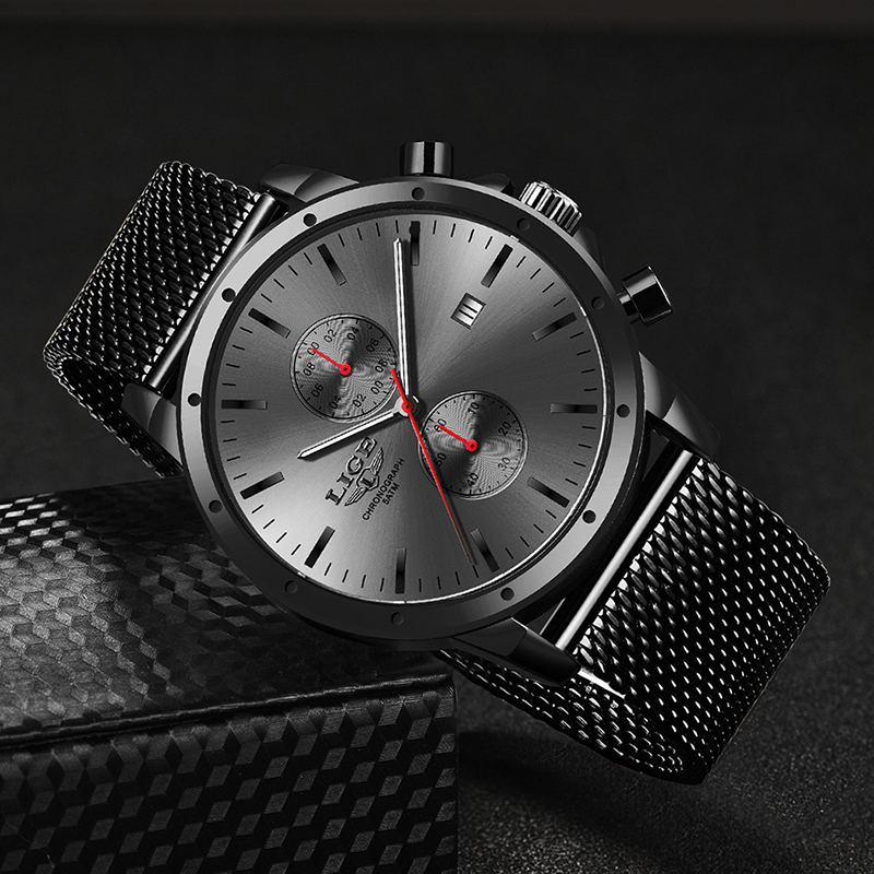 Mens Watches Top Luxury Brand LIGE Business Watch Men Chronograph Full Steel Waterproof Analog Quartz Wristwatch Male Clock+Box