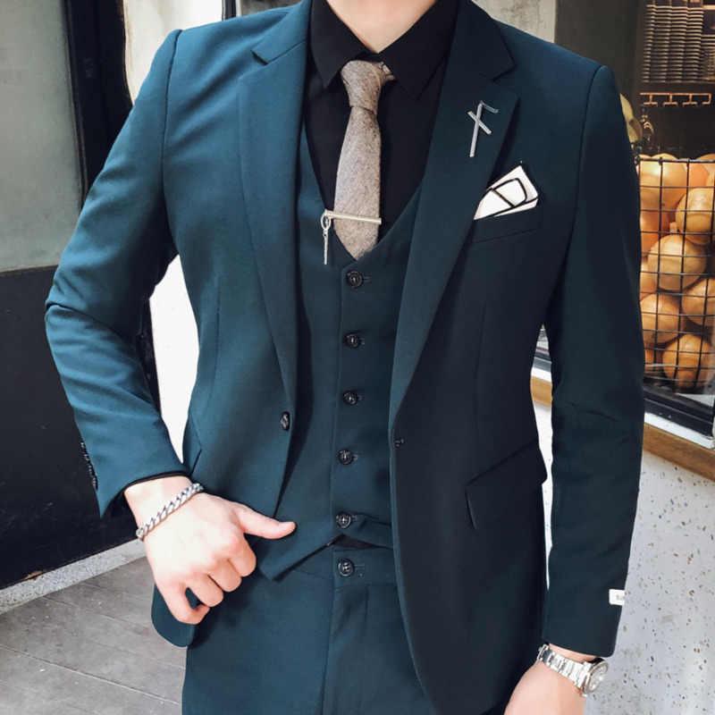 남자 정장 바지와 블레 이저 턱시도 3xl 의상 옴므 Mariage 블랙 3pc 정장 남자 영국 스타일 디자인 웨딩 슬림 맞는 살구