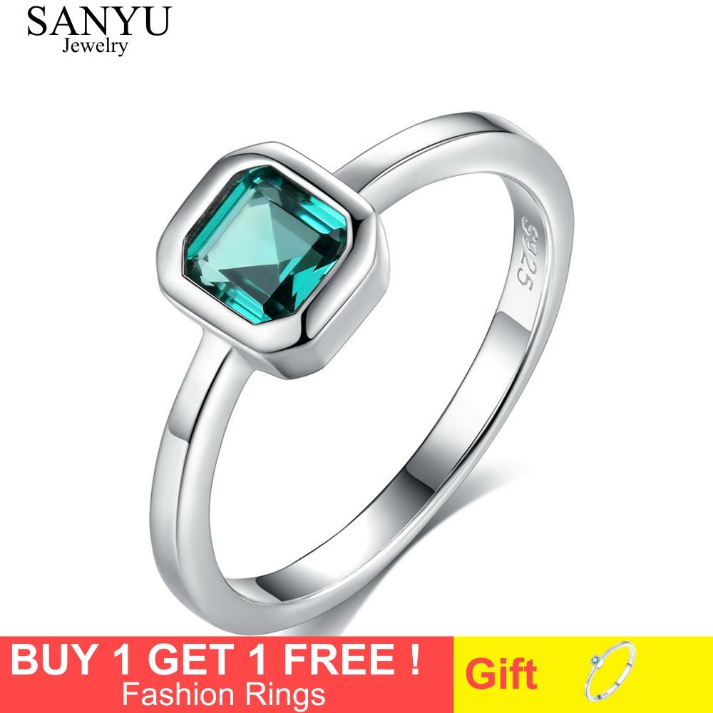 SANYU 925 Sterling Silver Topaz Engagement Rings for Women 4mm*4mm Square Emerald Gemstone Promise Wedding Ring Anel Feminino