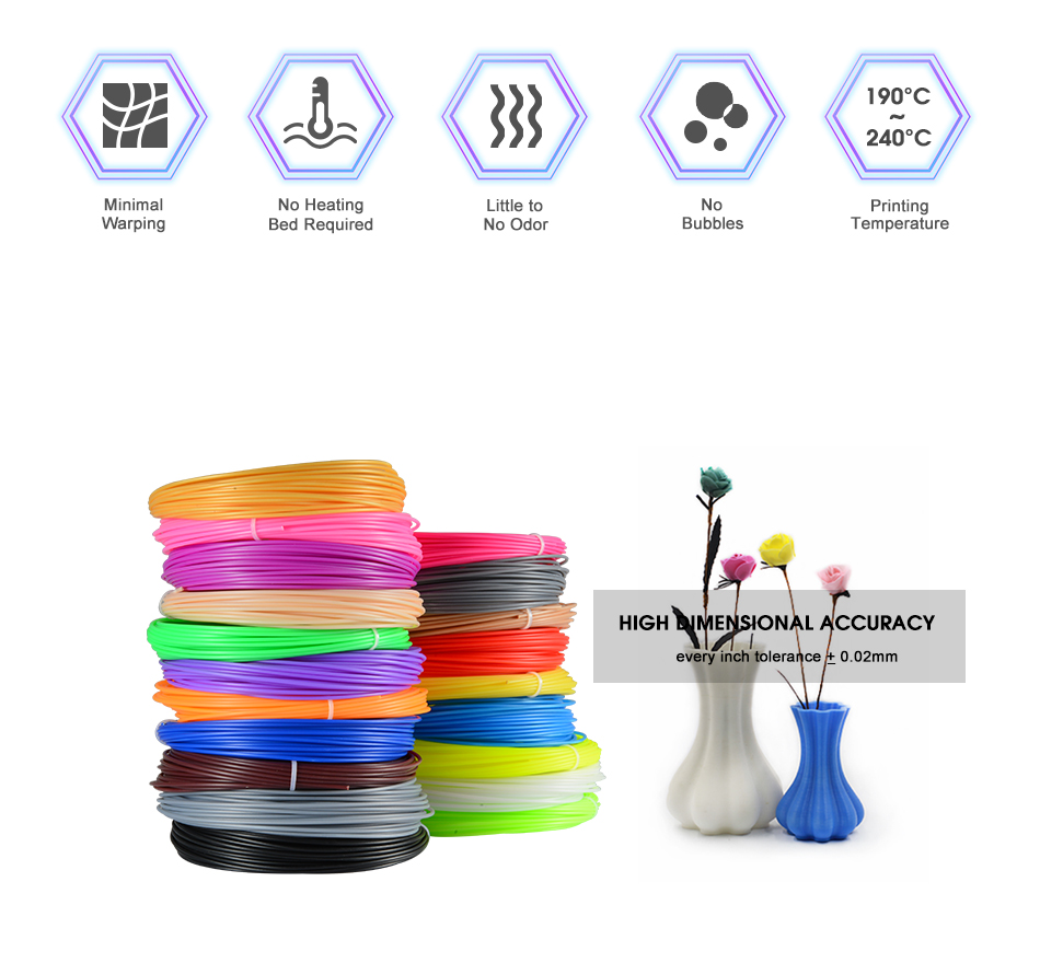 Plastic for 3D Pen 50 Meter PLA 1.75mm 3D Printer Filament Printing Materials Extruder Accessories Parts ABS Printing Material