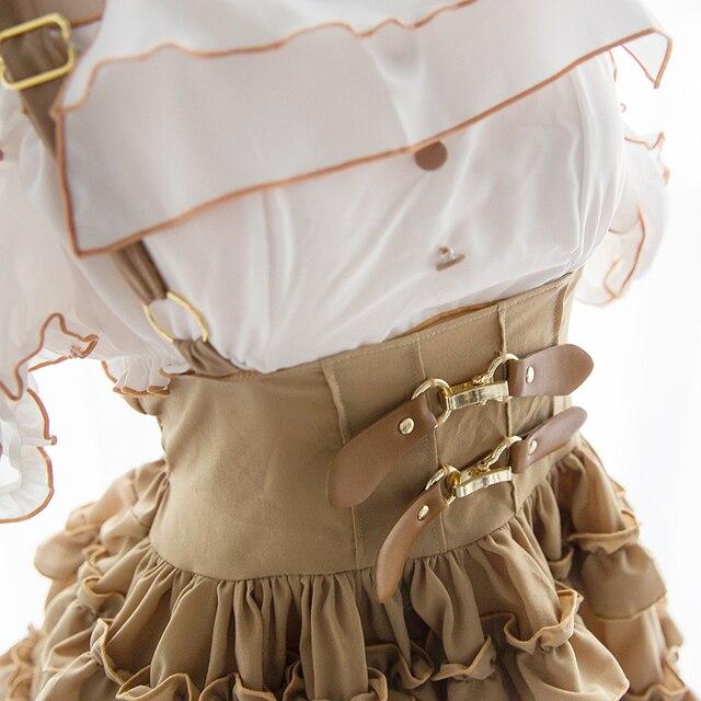 Japonais doux Sexy bateau col bulle manches vêtements de nuit rétro Style européen mince mince Ultra-court jupe ensemble de sous-vêtements Cosplay