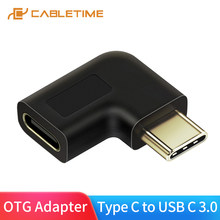 CABLETIME USB Type C Adapter Type-C OTG USB C Male to Female 90 Degree For Xiao mi Huawei Mate Pro Samsung USB-C Spliter C015(China)