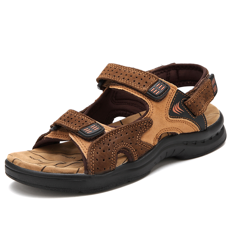 Men's Sandals Fashion Casual Beach Sandals Genuine Leather Summer Shoes Retro Sewing Classics Men Footwear Zapatos Hombre 38-44