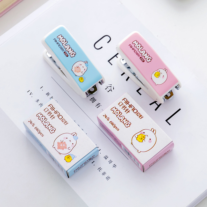 Mini Molang Rabbit Patterns Stapler Set Cute Metal Plastic Paper Stapler School Office Supplies