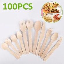 100 pièces jetable broche cuillère couteau paille avec brosse en bois fourchette Compostable fourchettes bambou plaques fête pique-nique cuisine noël