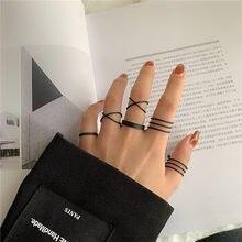 Original simples ouro prata cor preta oco geométrico anéis conjunto para as mulheres moda cruz torção conjunta anel jóias femininas 2020