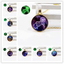 New jewelry retro crystal glass gold bottom support luminous necklace twelve constellations full set