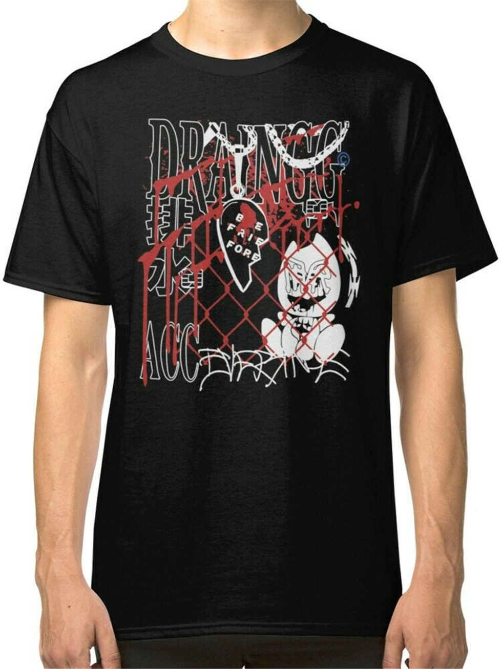 Drain Gang Merch Men'S Black T-Shirt S To 3Xl Apparel Casual  Tee Shirt