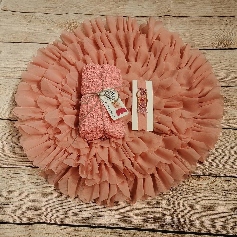 50cm Flower Style Mat Soft Chiffon Cushion+140*30cm Stretch Knit Wrap Wrap+matched Headband For Newborn Photography Props