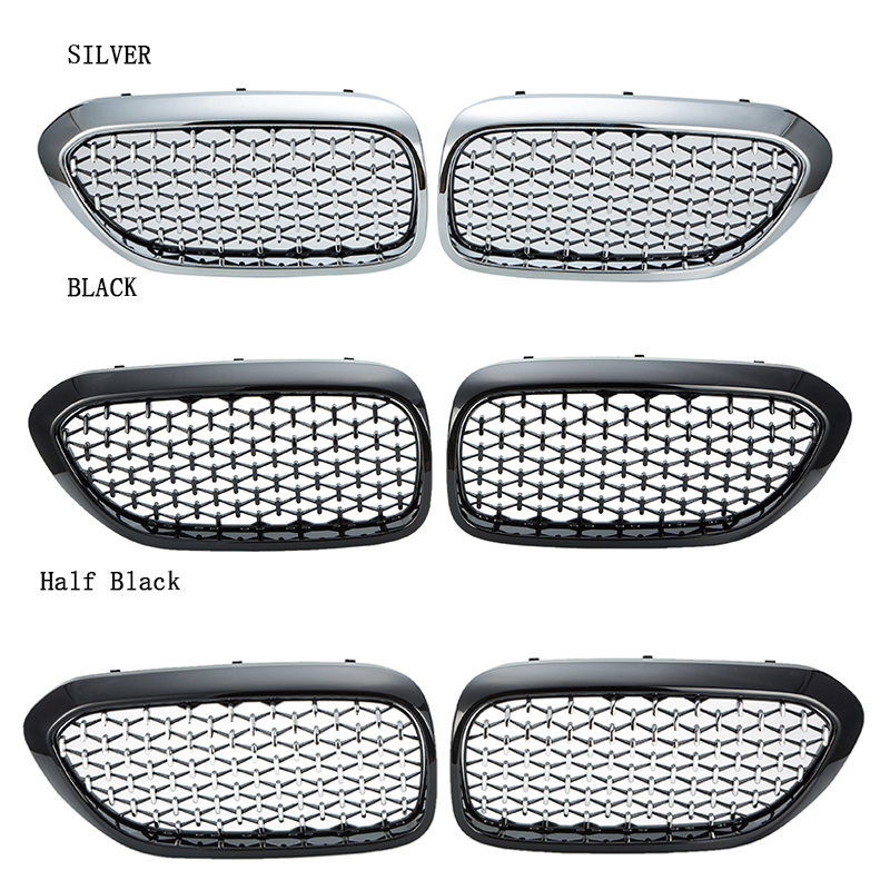 For BMW <font><b>G30</b></font> G38 2017-2019 Car Front Kidney Diamond Mesh Grille Gloss Black Chrome <font><b>Grill</b></font> Cover Car-Styling Parts image