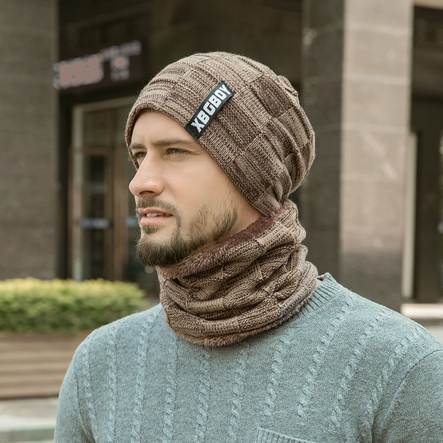 2019 Winter Beanie Hats Scarf Set Warm Knit Hat Skull Cap Neck Warmer with Thick Fleece Lined Winter Hat and Scarf for Men Women 4