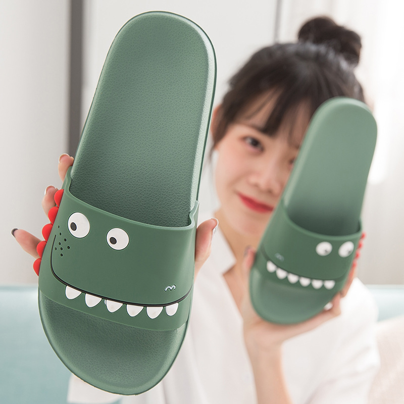 House Cute Cartoon Monster Slippers Non Slip Fretwork Indoor Soft PVC Bathroom Shower Slides Ladies Home Shoes Zapatos De Mujer