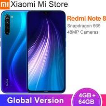 Versão global xiaomi redmi nota 8 4gb ram 64gb rom 48mp câmera traseira quad celular snapdragon 665 octa núcleo 6.3
