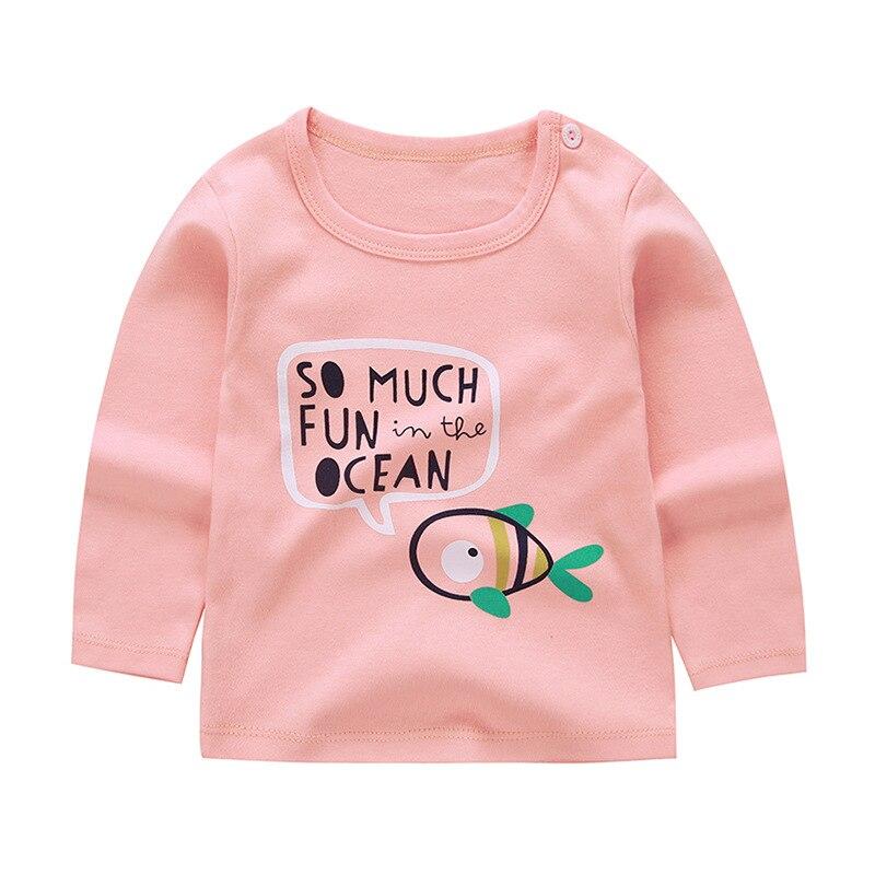 Autumn Baby Cartoon Single Shirt Clothes Boys and Girls T-shirt Baby Bottoming Shirt Winter Children's Long-sleeved Cotton 4