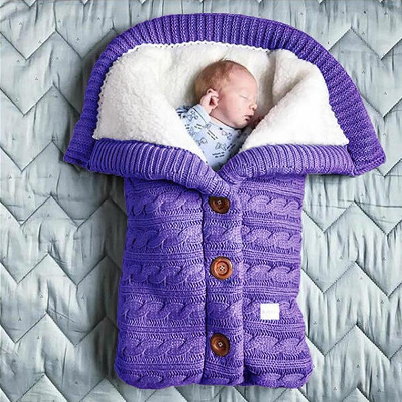 Зимний теплый спальный мешок для новорожденного ребенка вязаный