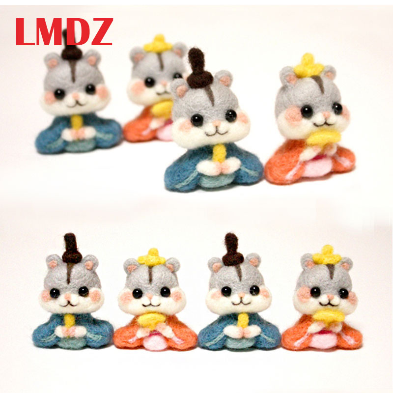 LMDZ 1Pcs Non Finished Wool Felt Handmade Poked DIY Hamster  For Needle Material Bag Poked Set Handmade DIY Funny Toy