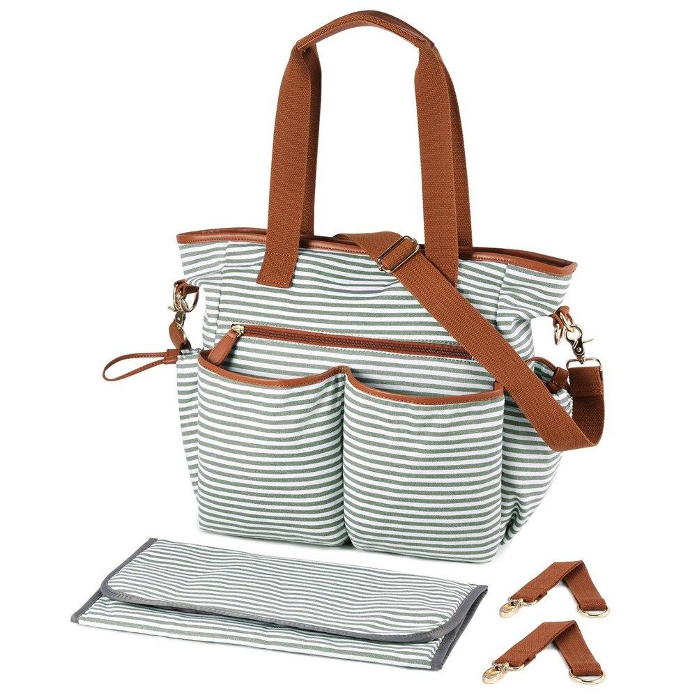 Stripe Diaper Bag Tote Crossbody Mummy Nappy Bags Large Capacity Nursing Handbag Baby Maternity Bag With Stroller Straps