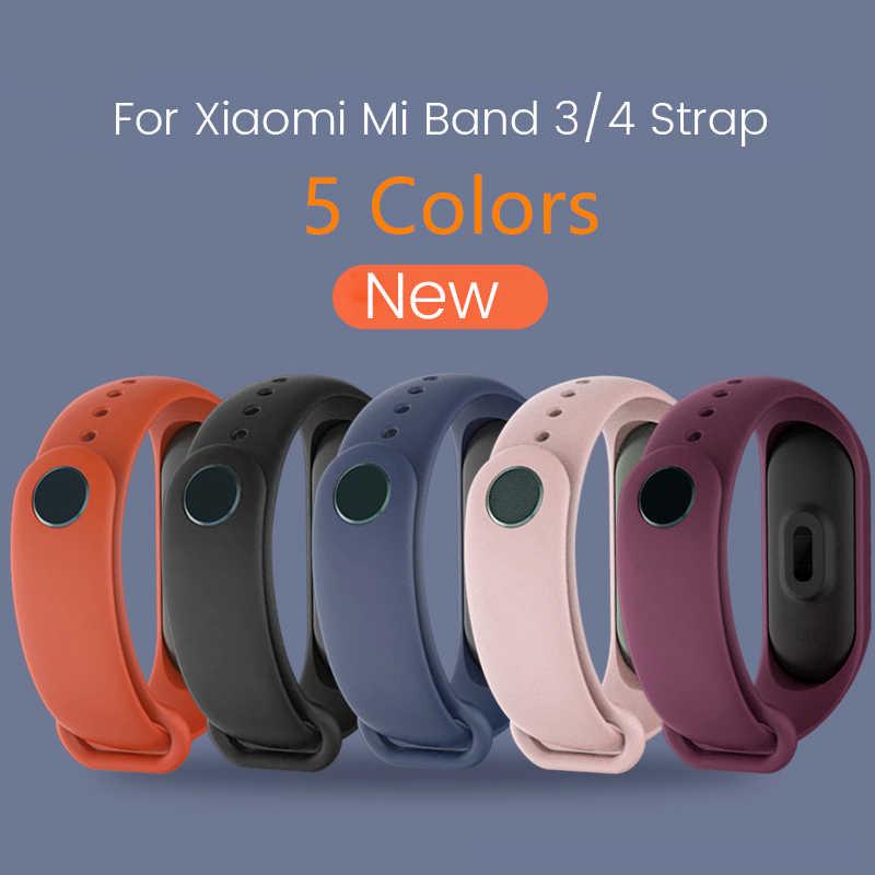 עבור שיאו mi Mi Band 4 להקת 3 רצועת סיליקון צמיד צמיד החלפה עבור Xio mi Band Mi band4 mi band3 יד צבע TPU רצועה