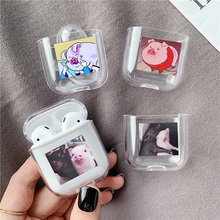 Funny Cute cartoon pig Transparent hard Case For Airpods 2 / 1Bluetooth headset Protective case Charging bags For airpod Funda