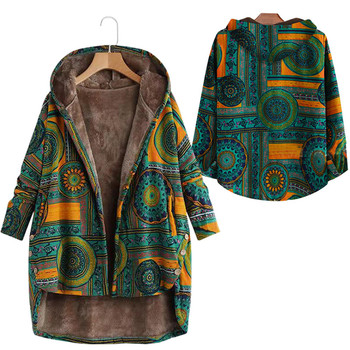 Women Winter Floral Printed Coat Vintage Harajuku Plus Size Loose Casual Jackets Plus Velvet Thick Warm Hooded Fashion Coat 9