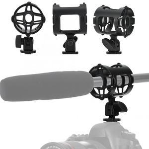 Image 5 - מיקרופון הלם הר מחזיק עם קר נעל אוניברסלי פלסטיק מיקרופון Stand הלם הוכחה מהדק סטודיו הקלטת סוגר למצלמה