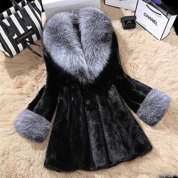 цена Faux Fur Coats Large Size 4XL Imitation Mink Fur Long Fox Fur Collar Slim Slimming Fur Coat Winter Luxury Plush Thick Warm Coat онлайн в 2017 году