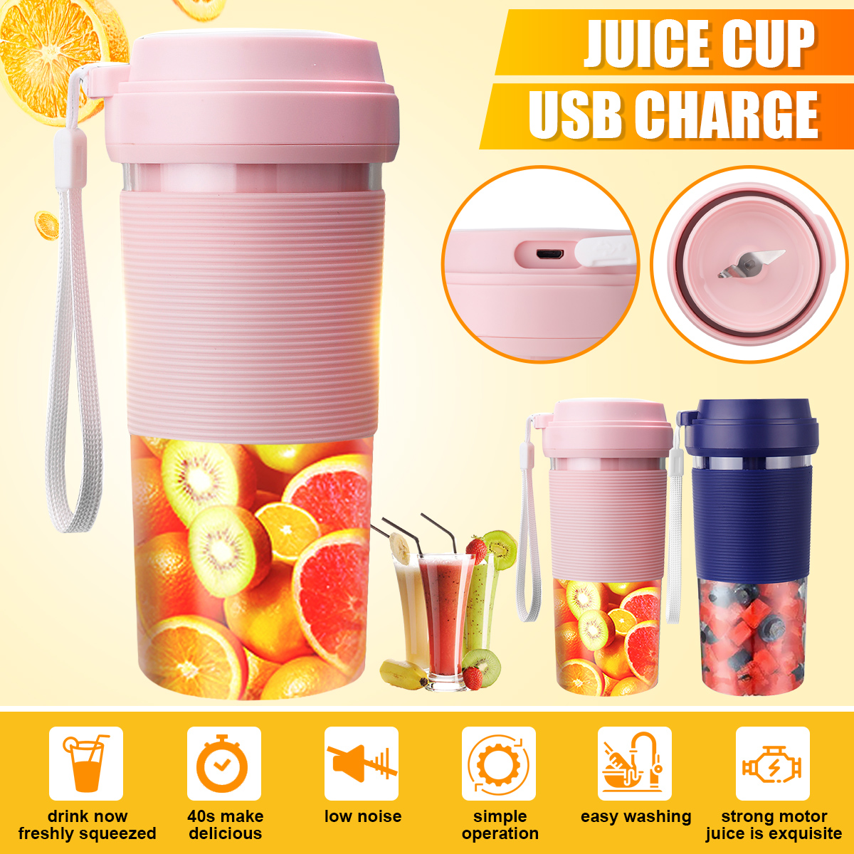 Portable Electric Juicer Small Fruit Cup Food-Blender Processor Mixer 400ML Mini USB Rechargable 40 Seconds Of Quick Juice Maker
