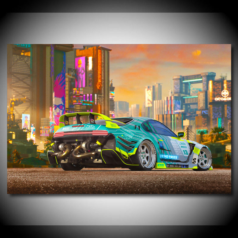 Cyberpunks Car Toyotas 86 Supercar Wall Art Posters and Prints Modern Canvas Paintings for Living Room Decor(China)