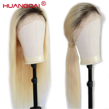 Ombre T1B/613 Lace Front Human Hair Wigs Brazilian Straight 613 Blonde Lace Front Wig Pre Plucked Lace Wig Remy Hair 26 Inch