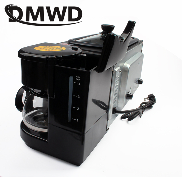 DMWD Electric 3 in 1 Breakfast Machine Multifunction Mini Drip American Coffee Maker Pizza Oven Egg Omelette Frying Pan Toaster 4