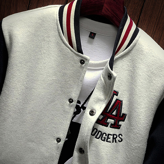 2020 New Arrival Letter Rib Sleeve Cotton Embroidery Logo Single Breasted Casual Bomber Baseball Jacket Loose Cardigan Coat 5