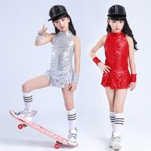 Children's Modern Dance Performance Clothing Suits Girls Hip-hop Jazz Stage Dance Shiny Sequins Top Shorts Set Kid Dance Wear