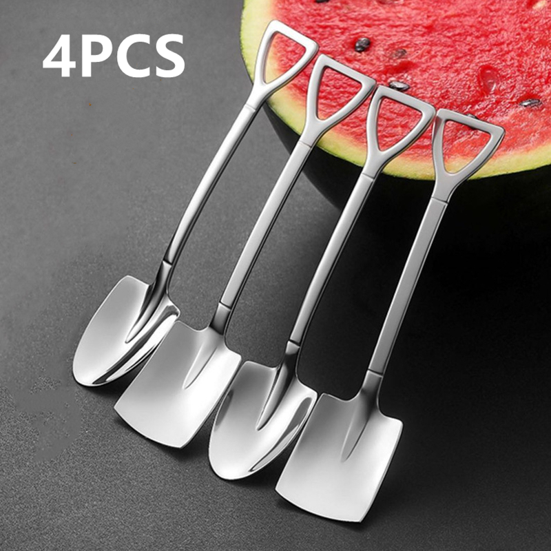 Creative Spoon Tableware Cutlery-Set Iron-Shovel Ice-Cream Stainless-Steel Retro Fashion
