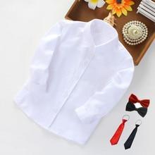 Children's Clothing Lapel Boys' Shirts Casual Solid White Shirts Big Children's Shirt Girls' Blouses & Shirts Summer Tops Blusas