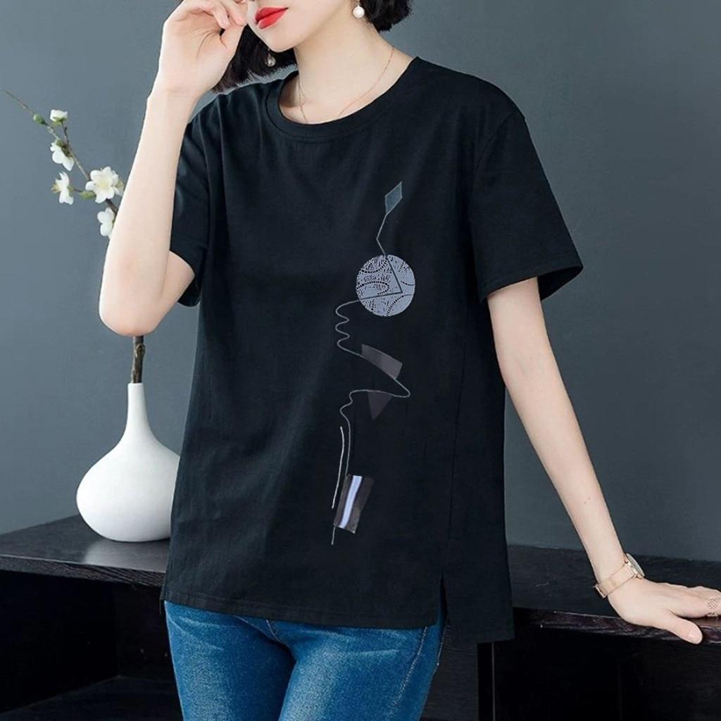 4# Short Sleeve Women's T-shirts Vintage Printed O-neck Punk Ladies T-shirt Tops T Shirt Women Women Clothing 2021 Футболка 4