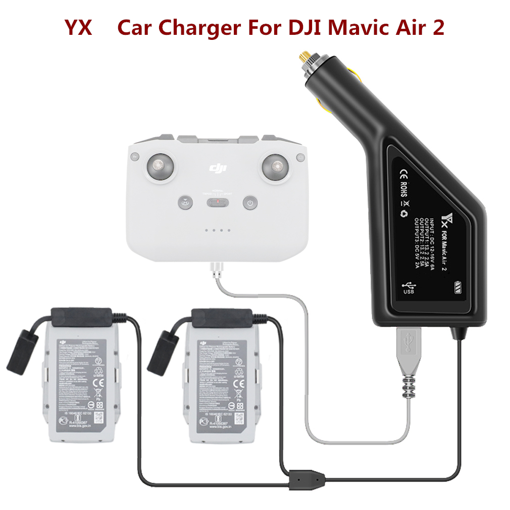 Car Charger For DJI Mavic Air 2 Intelligent Battery Charging Hub Mavic Air 2 Car Connector USB Adapter Multi Battery Car Charger