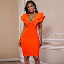 Geyik bayan seksi bandaj elbiseler 2019 yeni turuncu Ruffled bandaj elbise Bodycon V boyun Vestidos ünlü parti elbise