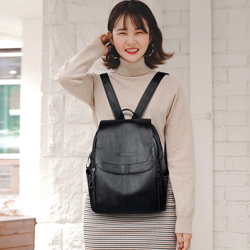 Mochila de moda de las mujeres de cuero de alta calidad de mujeres 2019 mochila para mujeres, bolsillo con cremallera bolsa anti ladrón de las mujeres