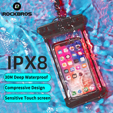 ROCKBROS Waterproof Sports Bag Women 7inch IPX8 Floating Airbag Swimming Bag Cell Phone Case For Swim Diving Surfing Beach Use