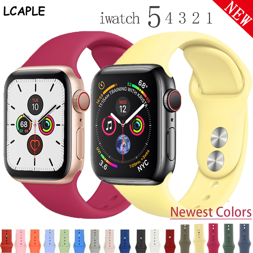 Silicone Strap For Apple Watch Band Pulseira Apple Watch 5 4 3 38mm 42mm Correa Iwatch Band 44mm 40mm Sport Bracelet Accessories