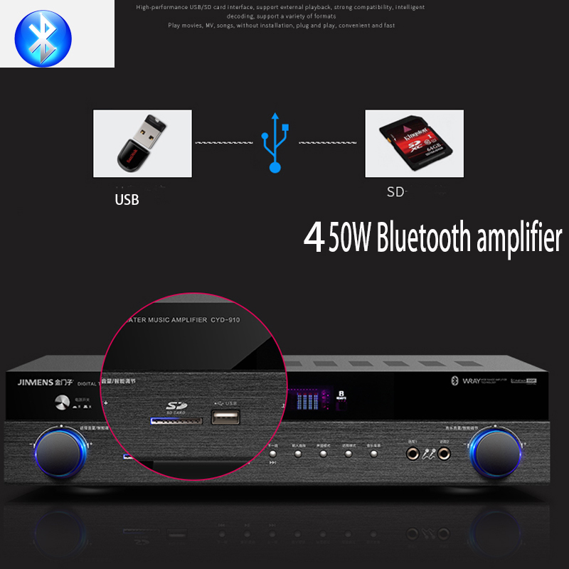 KYYSLB 450W 750W 220V H-8002 4 0 Bluetooth Amplifier HDMI Loss Home Theater 5 1 Channel Digital Amplifier Kara OK Fiber Coaxial