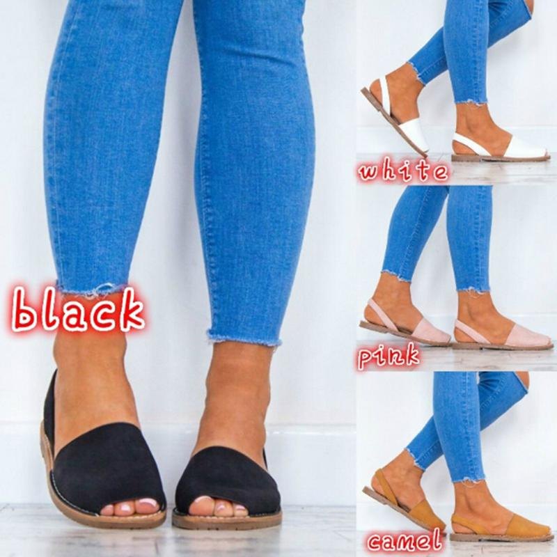 Women Flat Sandals Fashion Peep Toe Faux   Suede   Summer Gladiator Sandals Casual Slip on Elastic Band Solid Comfy Footwear Ladies