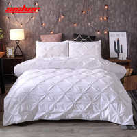 Luxury White Duvet Cover Set Pinch Pleat Solid Color Single Double Queen King Size Quilt Covers Sets bedclothes Duvets Home Use
