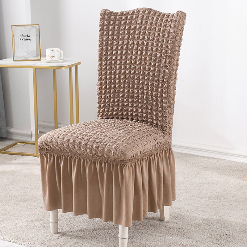 1/2/4 Pcs Bubble Dining Chair Cover Spandex Elastic Chair Slipcover Case Stretch Chair Cover with Skirt for Wedding Hotel Banque 4