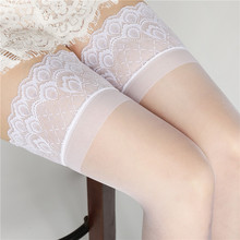 Women Sexy Nylon Stockings Oil-Shine Stay-Up Silicone Lingerie Lace-Top Long-Hosiery