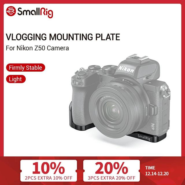 SmallRig Z50 Bracket Plate For Nikon Z50 L Shaped Side Plate+Baseplate Mounting Plate With Cold Shoe Mount   2525