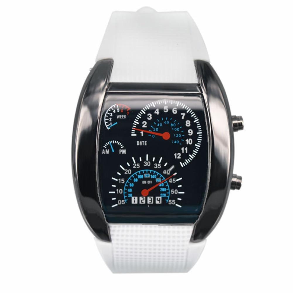 Men Fashion LED Sport Rubber Band Digital Week Date Dashboard Pattern Dial Watch Mas-culino Fashion Men's Watch Large Dial Milit 5
